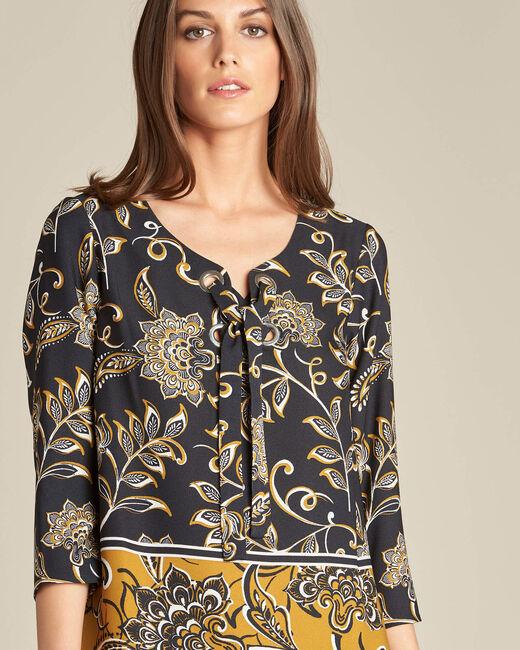 Zwarte blouse met bloemenprint Domino (2) - 37653