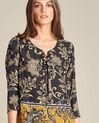 Schwarze Bluse mit Blumenprint Domino (1) - 1-2-3