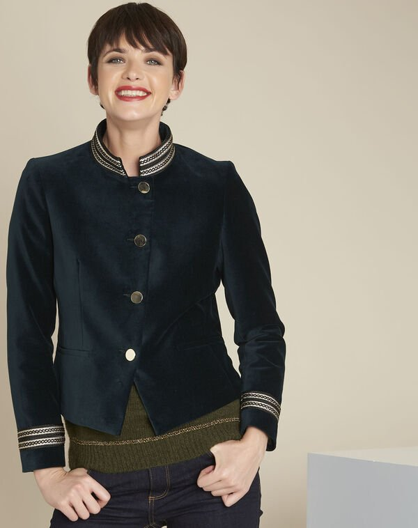 Samana dark green velvet officer-style jacket (2) - 1-2-3