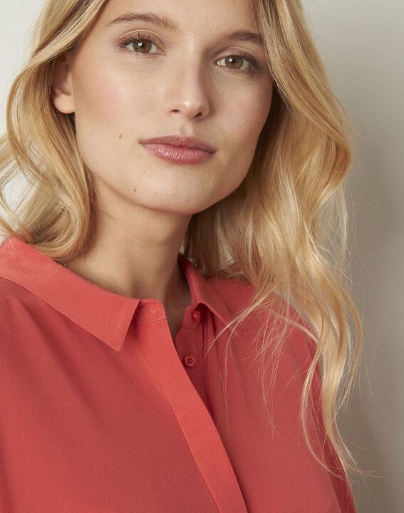 Koraalrode wijde blouse van zijde Vania (4) - Maison 123