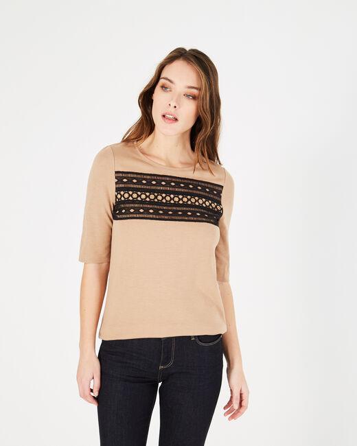 Tee-shirt camel à empiècements dentelle et oeillets Baie (1) - 1-2-3