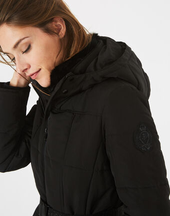 Livia black puffer jacket with a belt black.