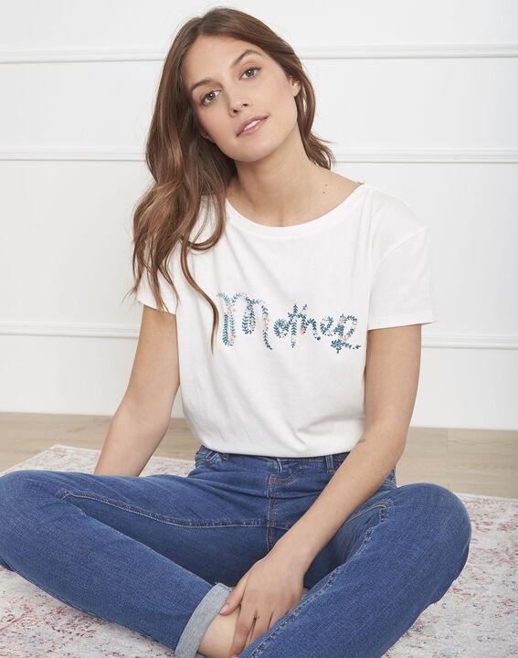 "Ecrufarbenes T-Shirt mit ""Mother""-Signatur-Print Pivoine PhotoZ | 1-2-3"