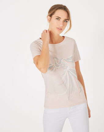 Butterfly powder pink phoenix print t-shirt powder.