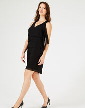 Froufrou black silk dress with flounces black.