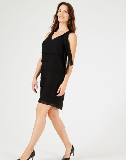 Froufrou black silk dress with flounces (2) - 1-2-3