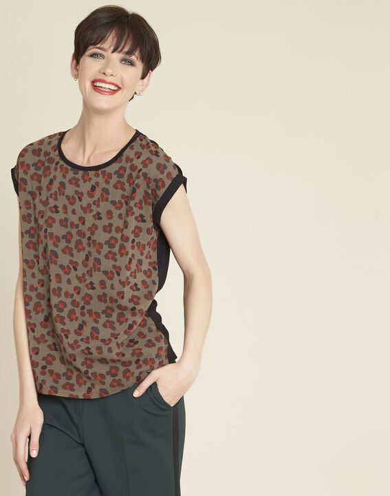 Calista animal print dual-fabric top in khaki PhotoZ | 1-2-3