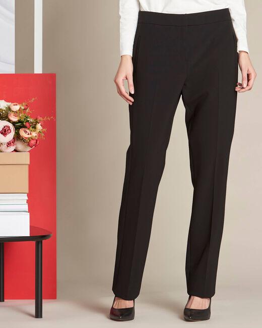 Pantalon noir droit en microfibre Vasco (2) - 1-2-3