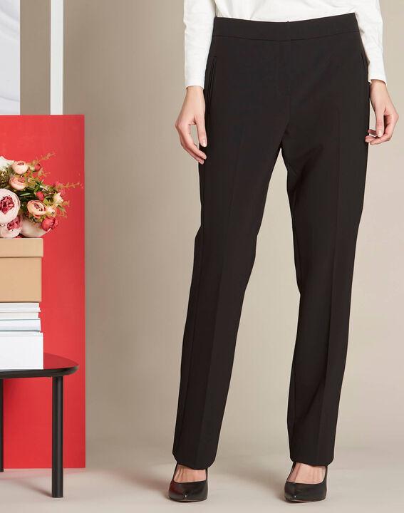 Pantalon noir droit en microfibre Vasco (3) - 1-2-3