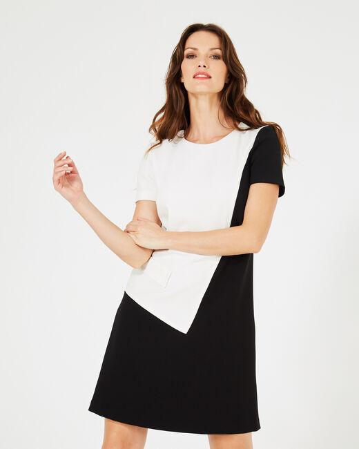 Schwarz-weißes grafisches Kleid Ambre (1) - 1-2-3