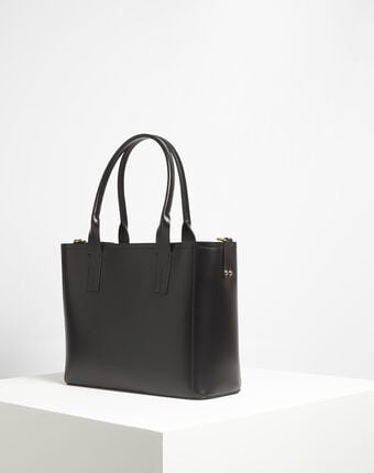 Debbie black leather tote bag black.