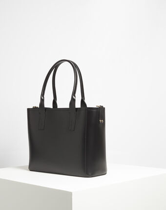 Debbie black leather tote bag black.