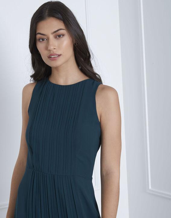 Langes, plissiertes, dunkelgrünes Kleid Isabella (3) - Maison 123