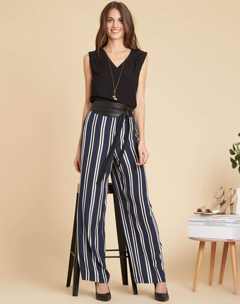 Pantalon large marine à rayures sissi marine.