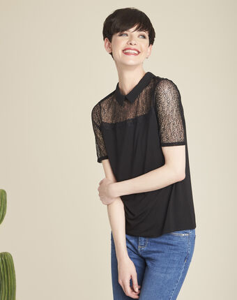 Game black t-shirt with peter pan collar and lace detailing black.