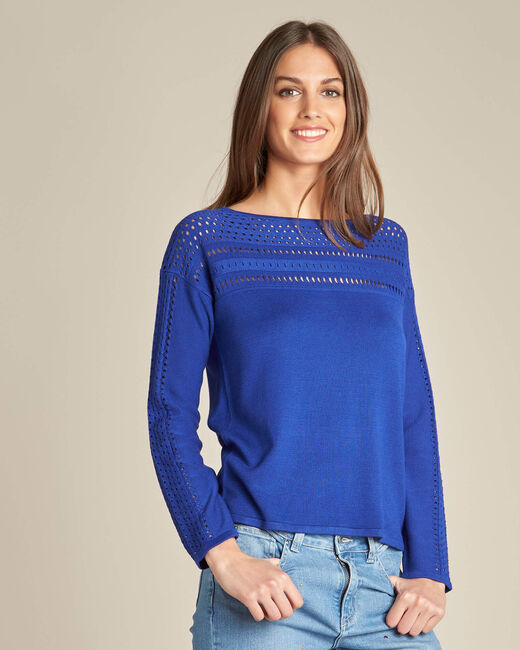 Nefle royal blue sweater with openwork neckline (2) - 1-2-3