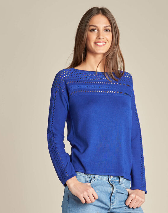 Nefle royal blue sweater with openwork neckline (3) - 1-2-3