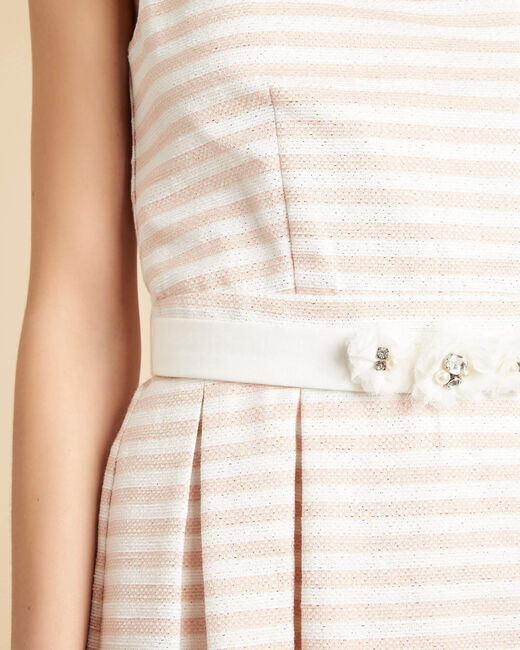 Robe poudre à rayures ceinture fleurs Irina (2) - 1-2-3