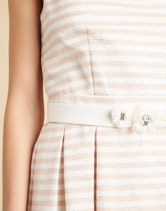 Irina chalk-coloured floral dress with stripes and belt PhotoZ | 1-2-3