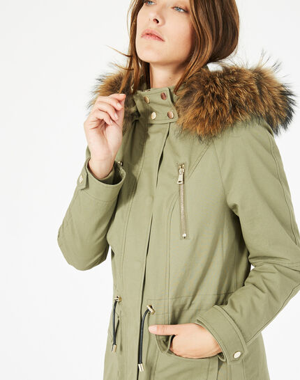 Xelia leaf green parka with real fur (3) - 1-2-3