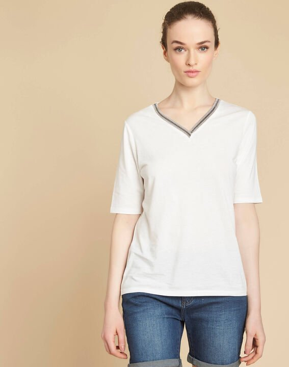 Eshine ecru T-shirt with romantic neckline (3) - 1-2-3