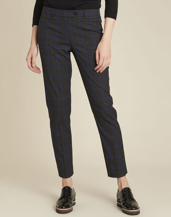 Valero navy checked cigarette-cut trousers navy.
