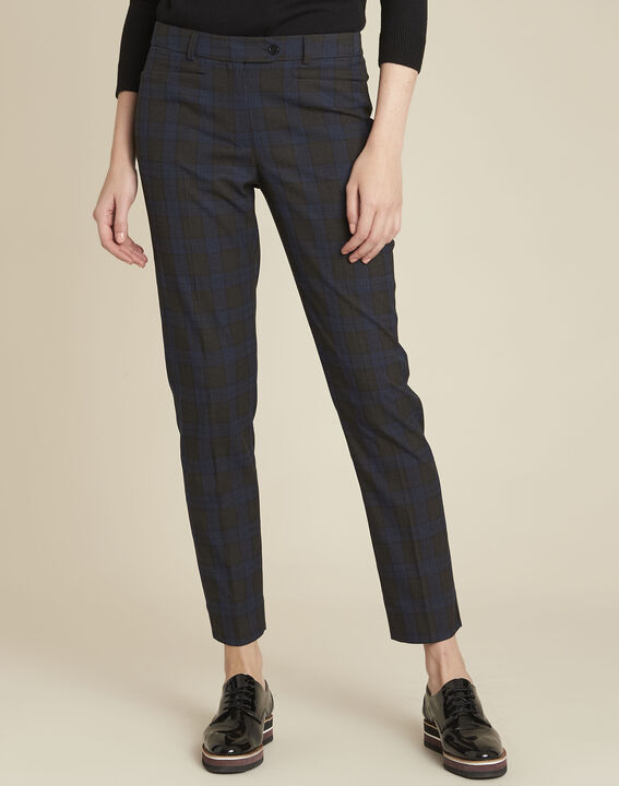 Valero navy checked cigarette-cut trousers PhotoZ | 1-2-3