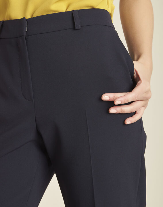Hermane wide-leg navy 7/8 length trousers (3) - Maison 123