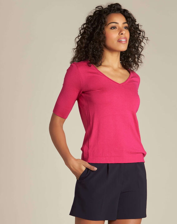 Novette fuchsia sweater with golden press-studs (3) - 1-2-3