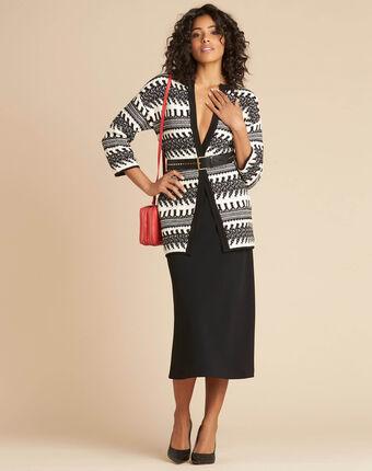 Veste fantaisie en maille noire et blanche navajo noir/blanc.