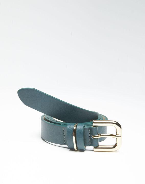 Smaragdgrüner Ledergürtel mit goldfarbener Schnalle Quadra PhotoZ | 1-2-3