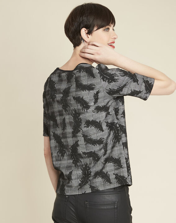 Grace grey blouse with feather print (4) - 1-2-3