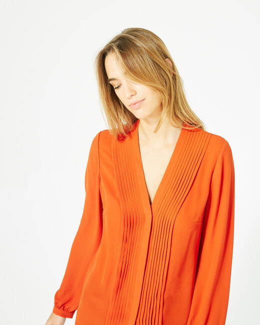 Orangefarbene Langarm-Bluse Doris (2) - 1-2-3