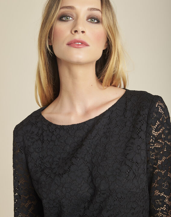Narling dual-fabric black skate dress with lace top (3) - 1-2-3