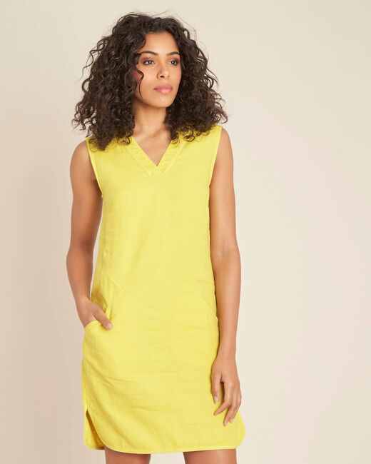 Pim yellow linen dress (2) - 1-2-3