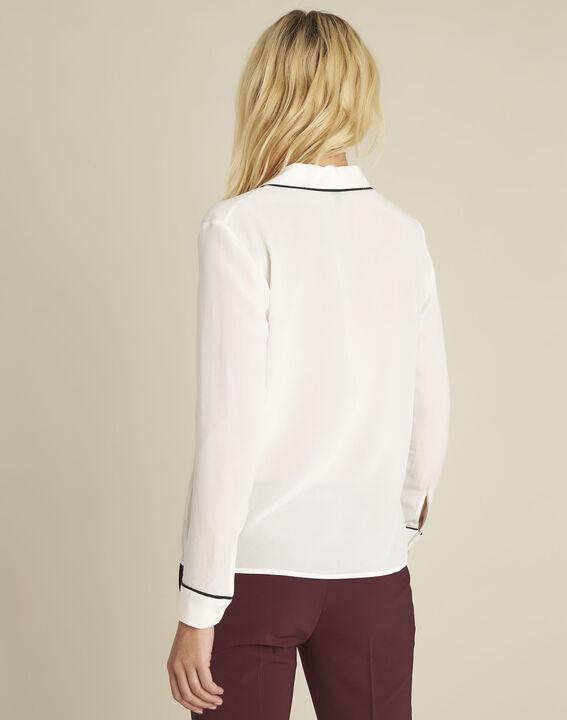 Celine nude silk blouse with contrasting bias (4) - Maison 123