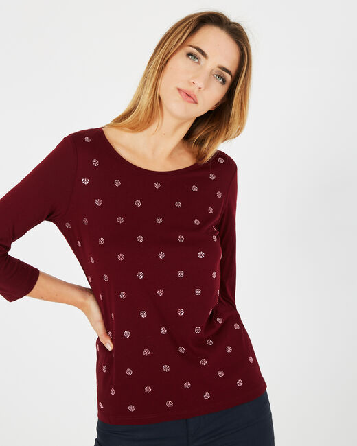 Barry red T-shirt with shiny polka dots (2) - 1-2-3