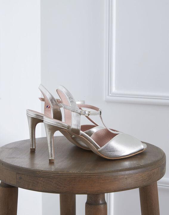 Sandales ouvertes dorées en cuir Yvana (1) - Maison 123