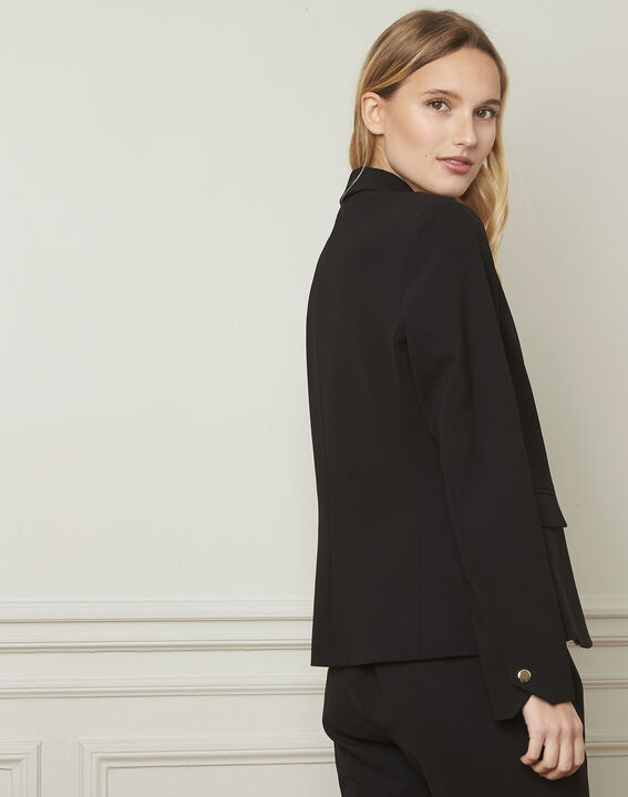 Eve black tailored microfibre jacket (3) - Maison 123