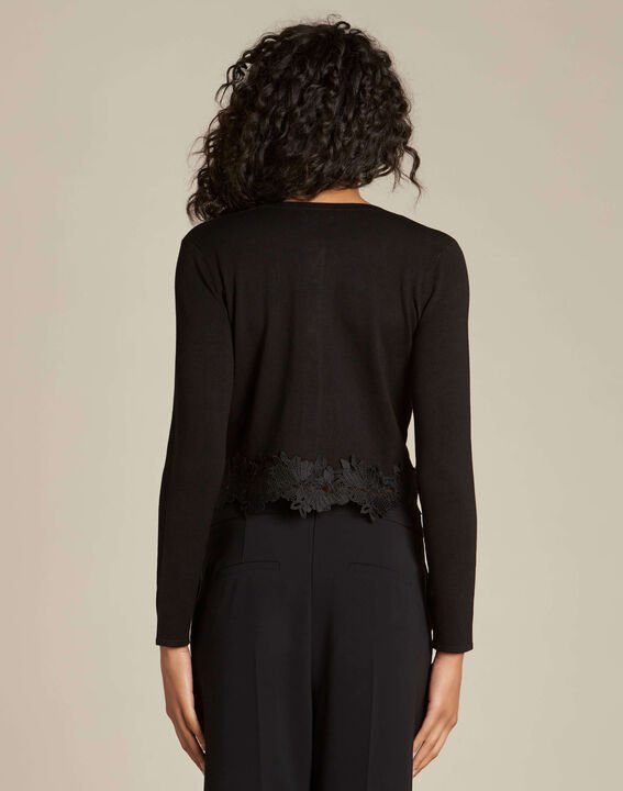 Nuance black cardigan with lace insert (4) - 1-2-3
