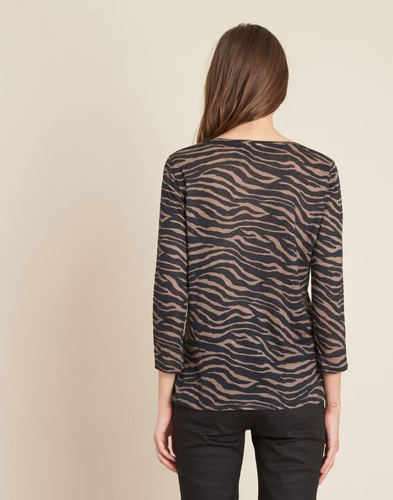 Ebahi linen T-shirt with zebra print and 3/4 length sleeves (4) - 1-2-3