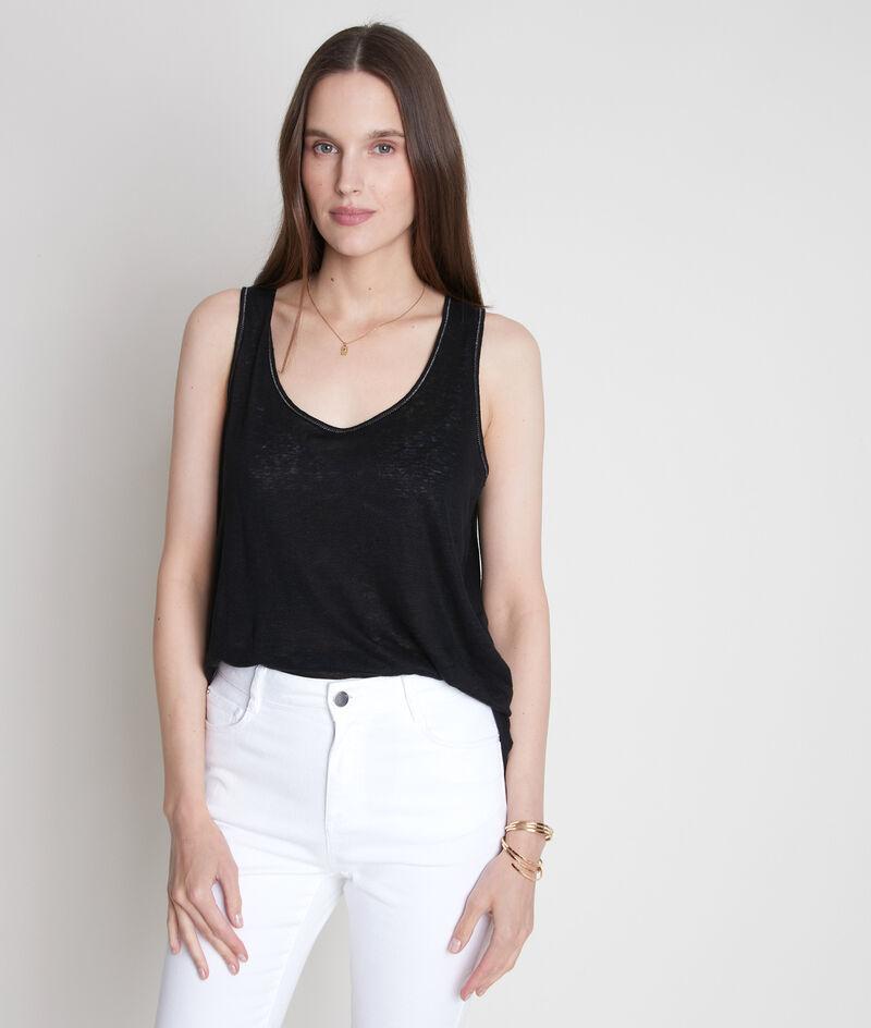 Zwarte tanktop van gecertificeerd linnen Emilie PhotoZ | 1-2-3