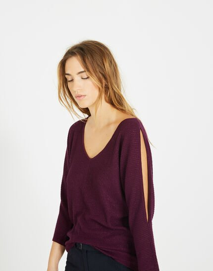 Pandore shiny blackcurrant sweater with bare arms (2) - 1-2-3
