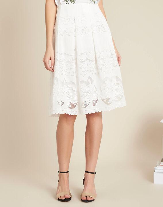 jupe blanche midi en dentelle dulcina 123. Black Bedroom Furniture Sets. Home Design Ideas