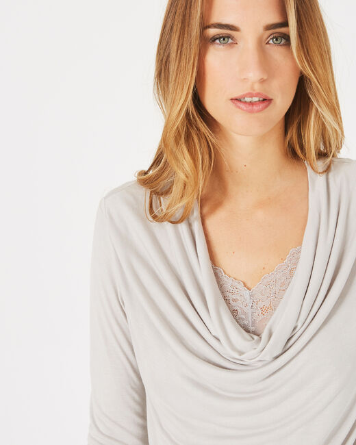 Ballet light grey lacy T-shirt with cowl neck (2) - 1-2-3