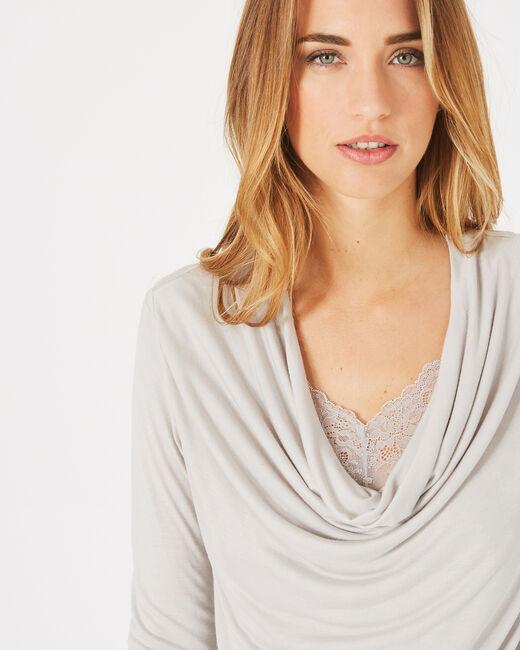 Tee-shirt gris pâle à col bénitier et dentelle Ballet (1) - 1-2-3