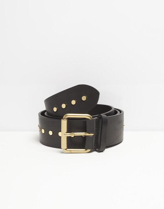Rock wide black leather studded belt (2) - 1-2-3