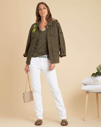 Etincellant khaki and gold t-shirt  with 3/4 length sleeves kaki.