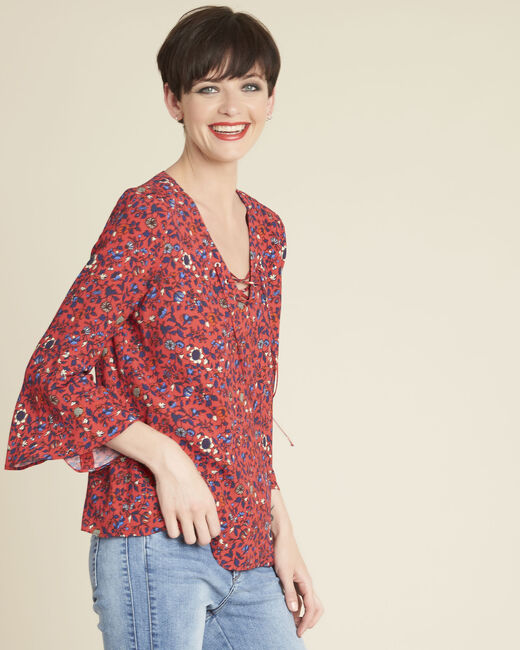 Constance pink floral blouse with laced neckline (2) - 1-2-3