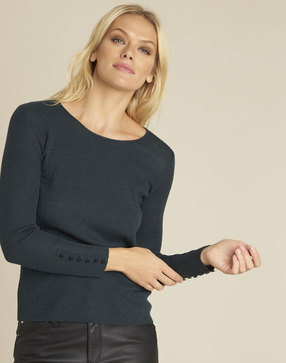 Bassus dark green fine knit pullover with buttoned sleeves (1) - Maison 123